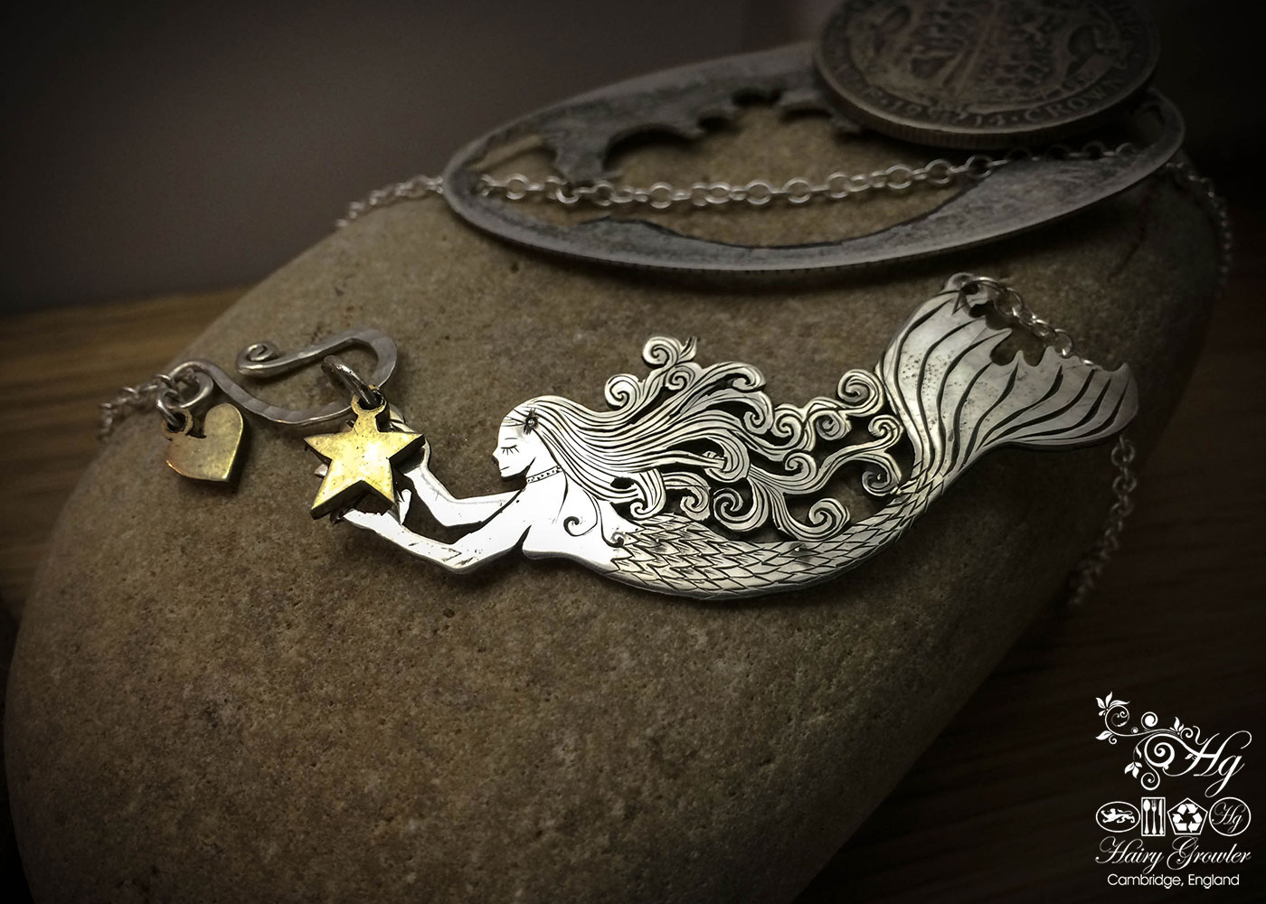 Handcrafted silver coin mermaid necklace made in landlocked Cambridge, UK