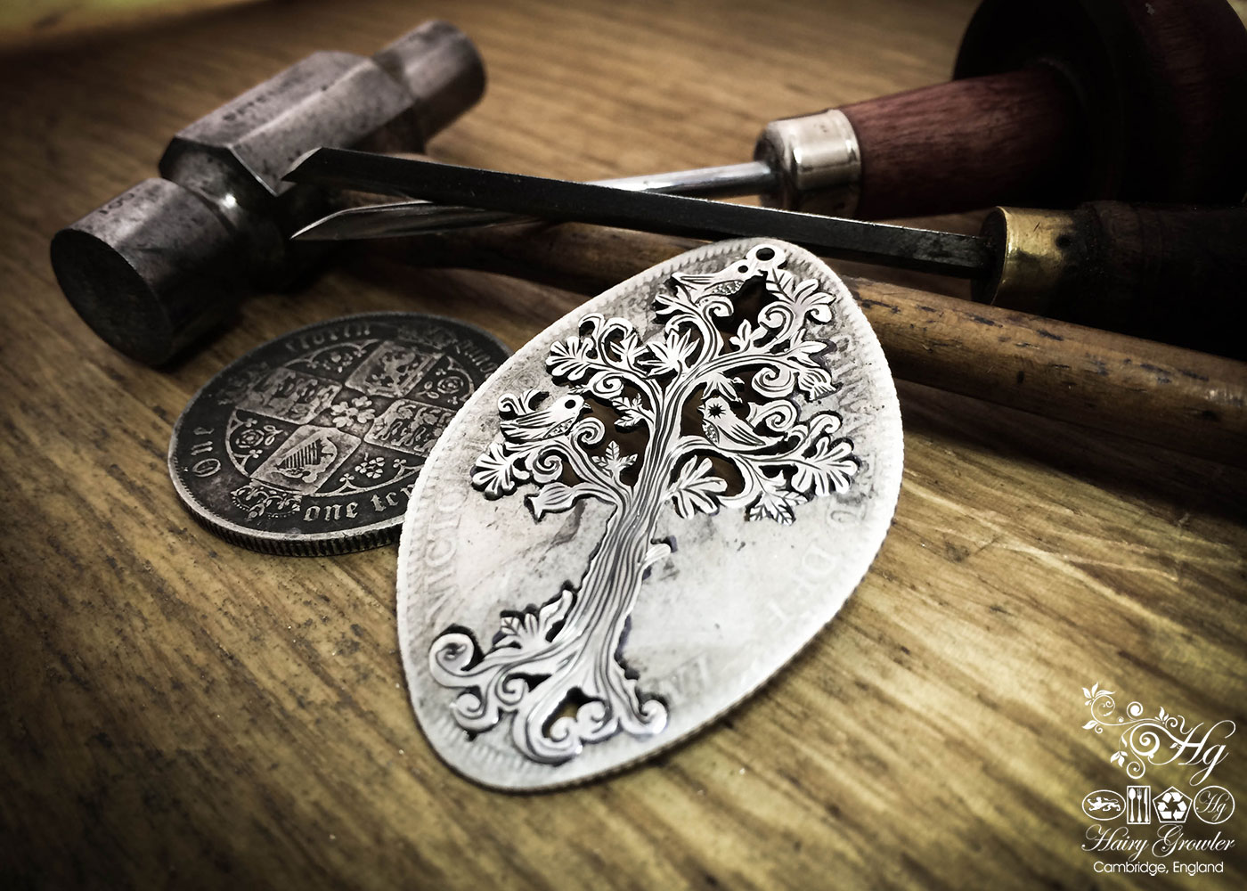 Handmade and upcycled silver Summer tree and tweeting birds made from a silver coin