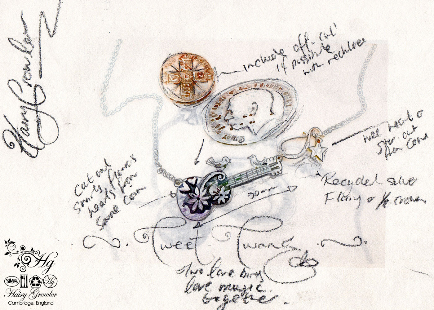 Handmade and upcycled sterling silver bird guitar necklace based on this initial concept sketch