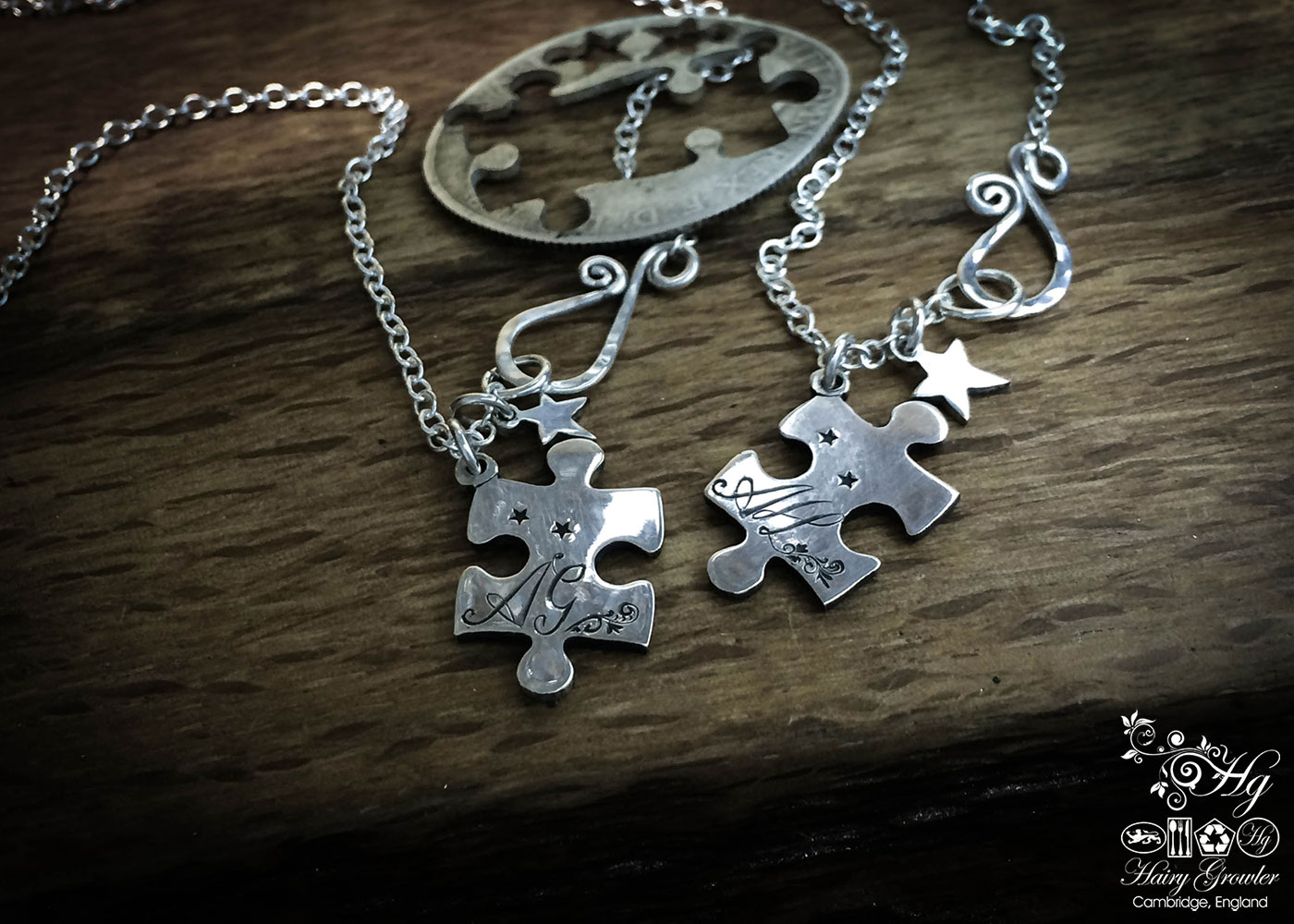 Jigsaw necklace Handmade and repurposed jigsaw pieces necklace silver coin