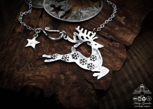 Handcrafted and recycled sterling silver half crown Reindeer necklace