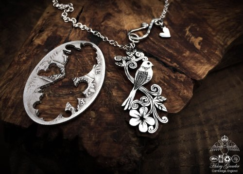 womad festival necklace - handmade and recycled using silver coins