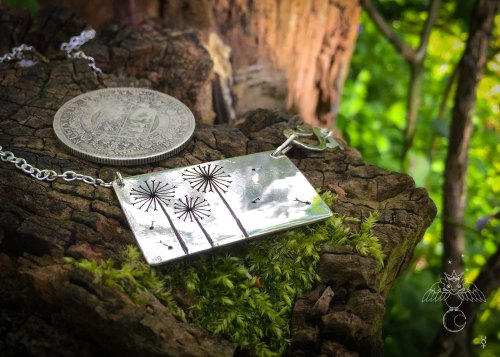 Handmade and upcycled sterling silver beautiful dandelion clock necklace