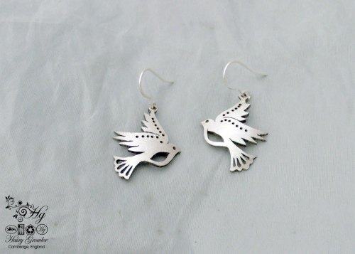 handcrafted and recycled spoon dove earrings