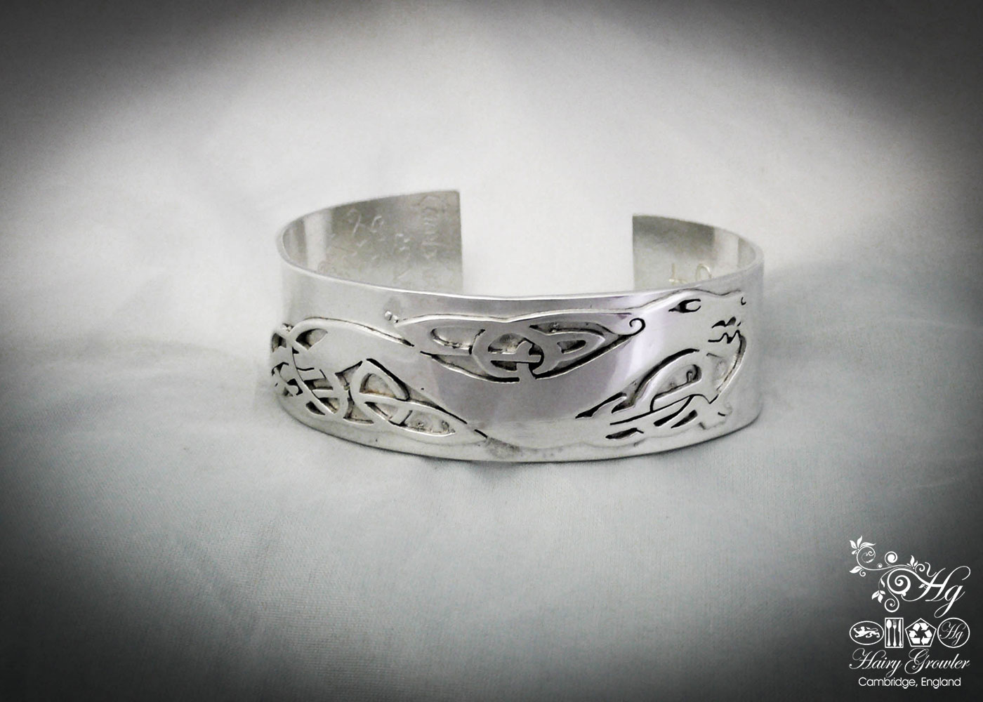 Handcrafted and recycled silver celtic kuff bangle