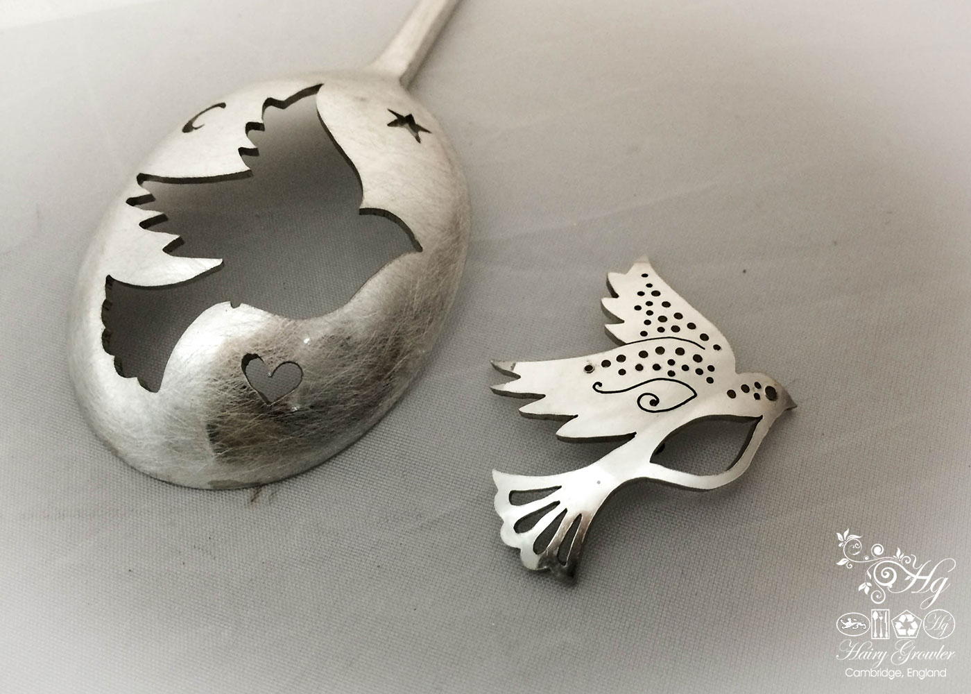 handmade and repurposed peace dove spoon brooch jewellery