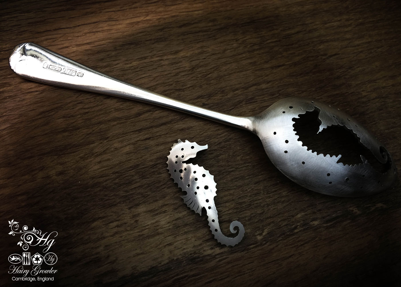 handmade and upcycled spoon seahorse brooch