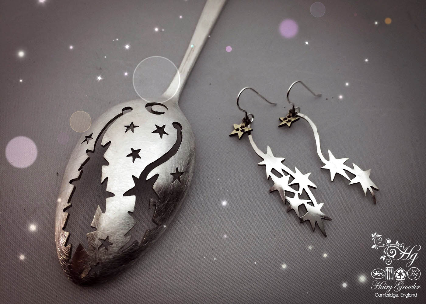 handmade and upcycled spoon star-burst earrings