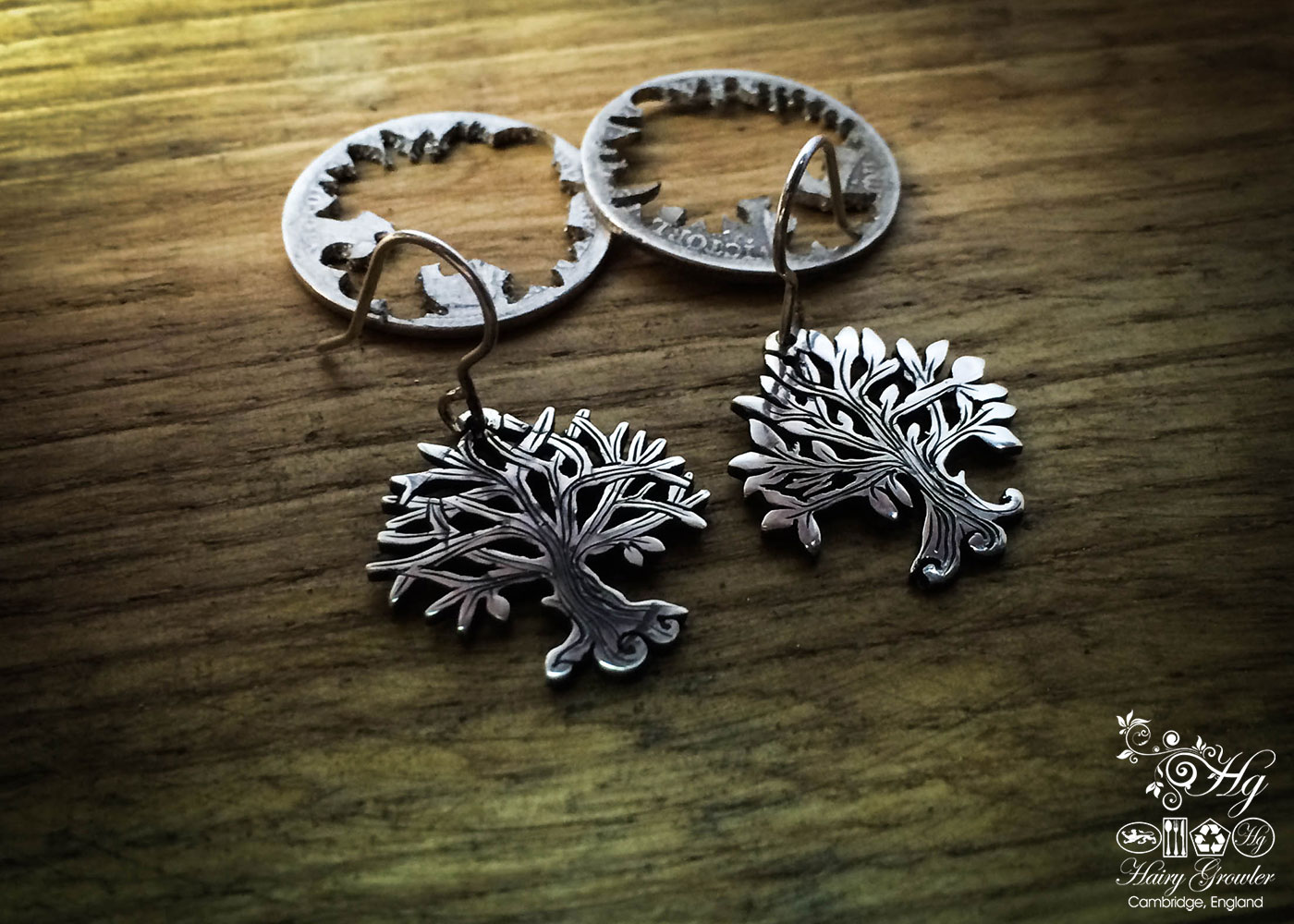 handmade and upcycled silver Georgian shilling tree of life earrings made in Cambridge