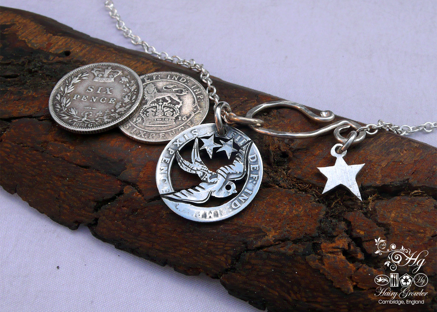 Handcrafted and repurposed silver sixpence coin birdsong swallow pendant necklace