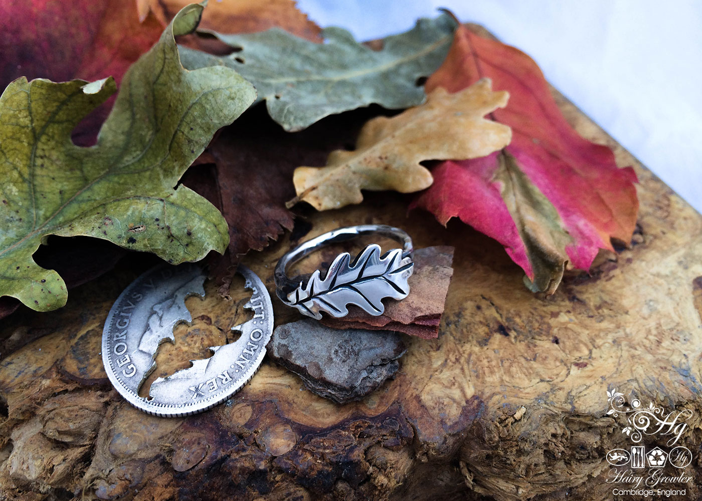 handcrafted and recycled silver shilling oak leaf ring