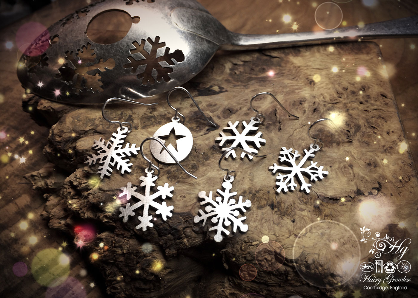 handcrafted and recycled antique spoon snowflake earrings