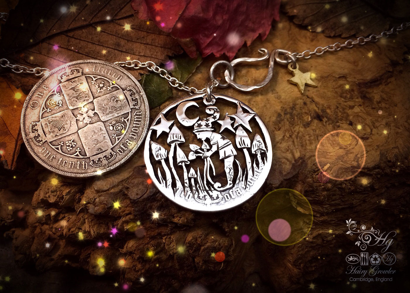 Hand made and up-cycled pixie and magic mushrooms coin pendant necklace