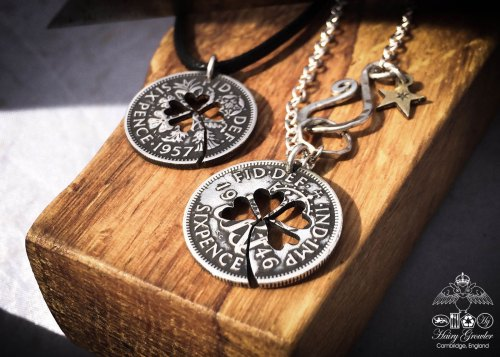 Handcrafted and recycled lucky sixpence coin necklace pendant