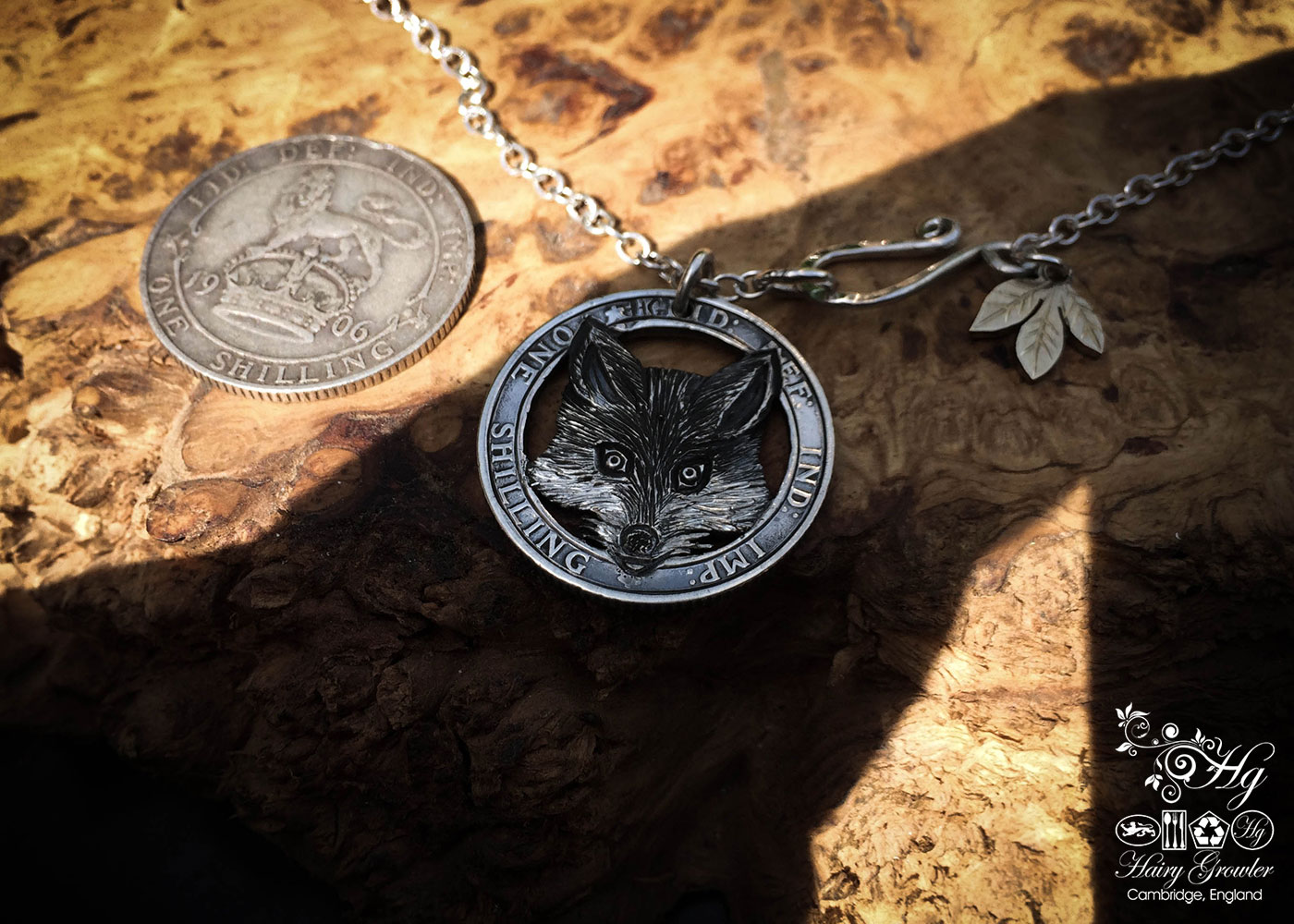 Handcrafted and recycled silver shilling The Silver Shilling collection. silver fox necklace totally handcrafted and recycled from old sterling silver shilling coins. Designed and created by Hairy Growler Jewellery, Cambridge, UK. necklace