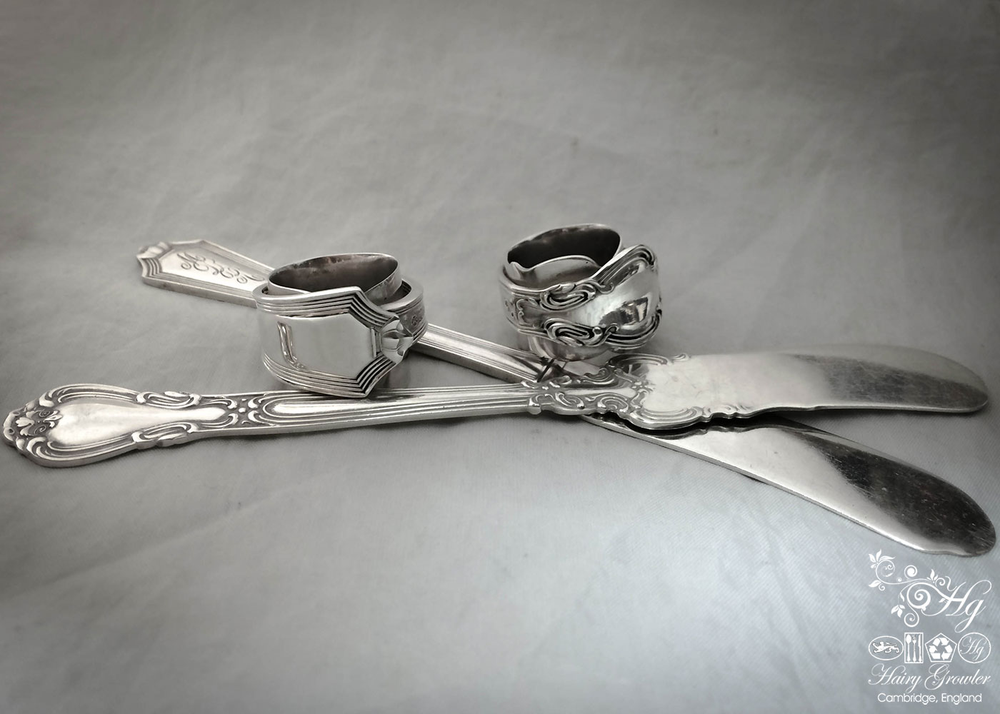 handmade and upcycled silver butter-knife and flatware rings