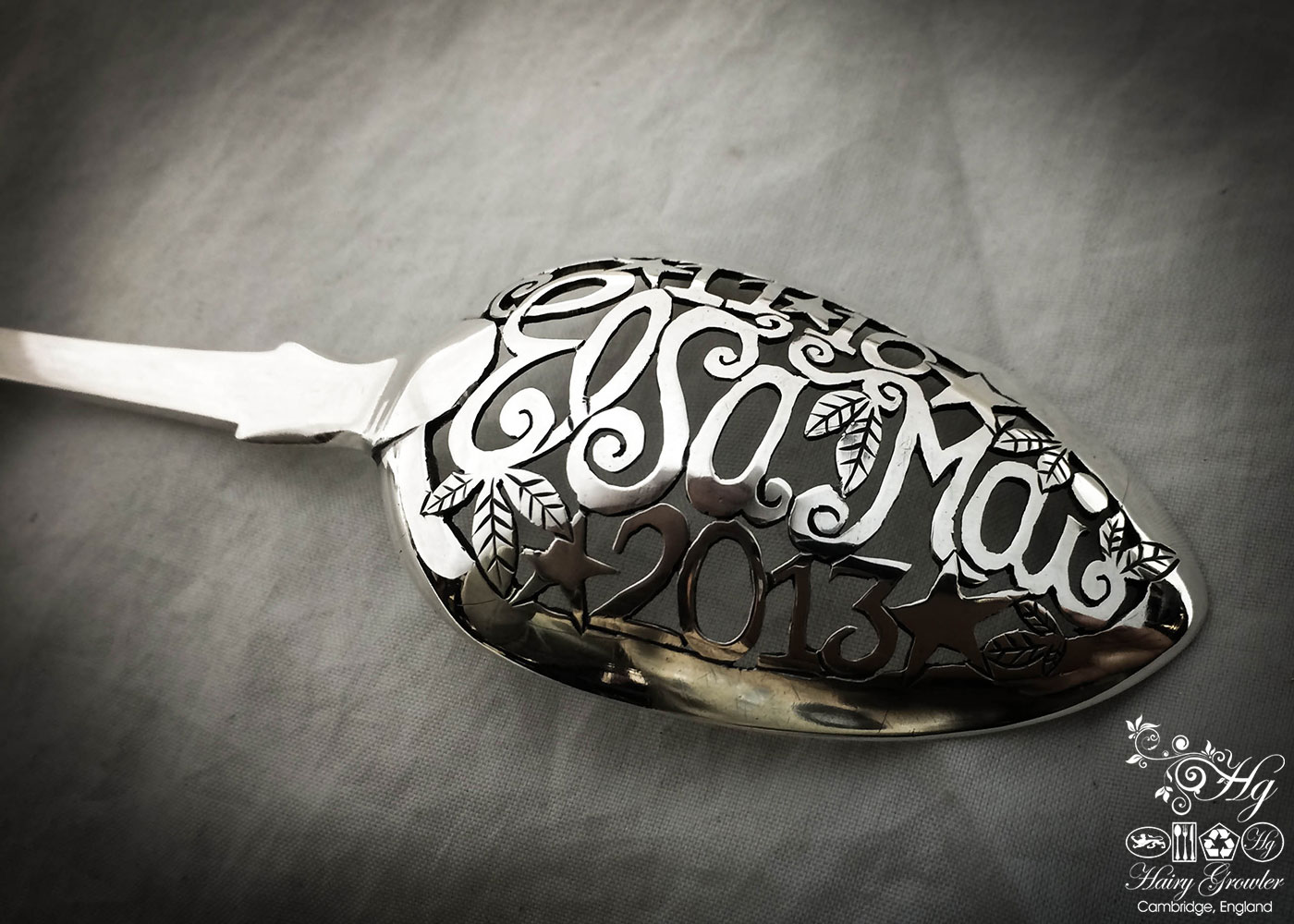 Individually commissioned and upcycled bespoke birth record christening naming ceremony spoon