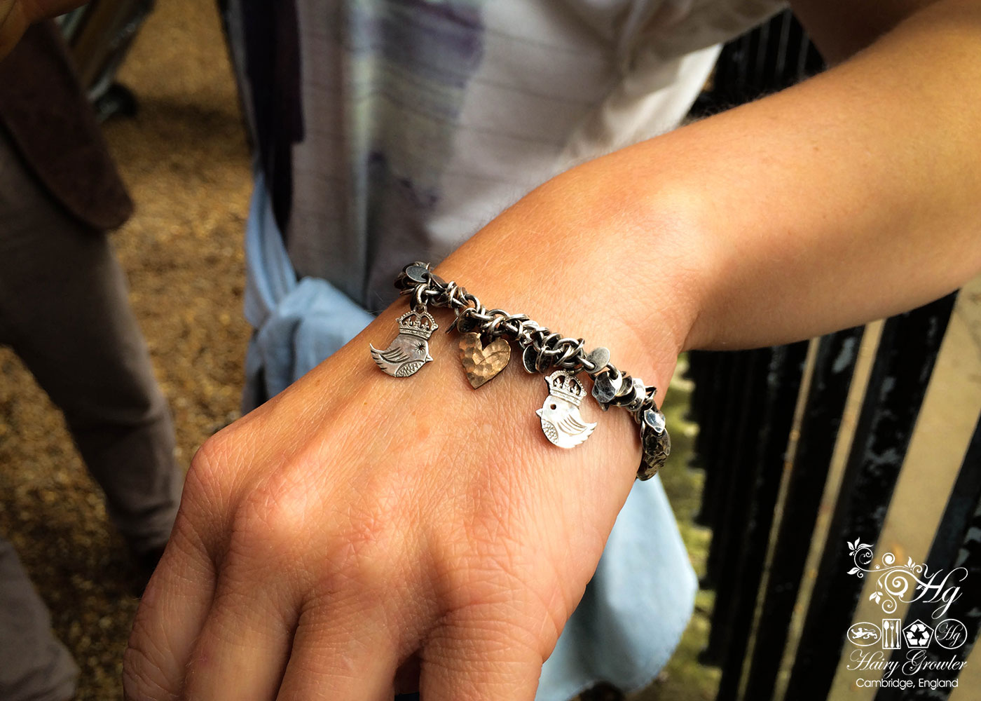 handcrafted teeny weeny Kingsy Queeny bird bracelet upcycled silver threepence coins