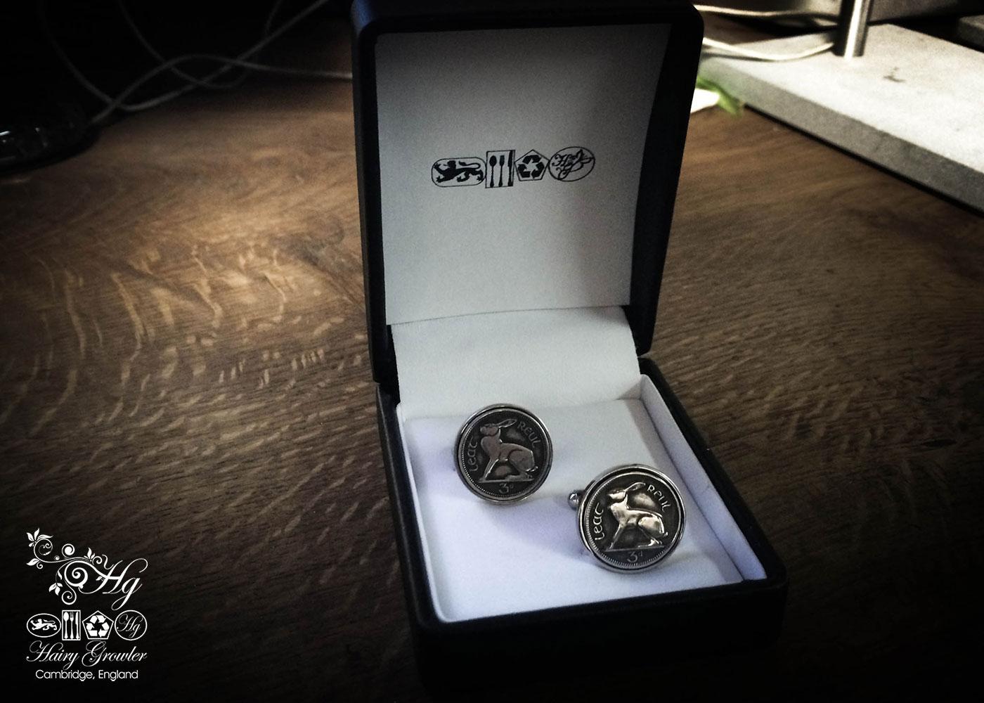 Irish hare threepence coin cufflinks handmade in the Hg workshop