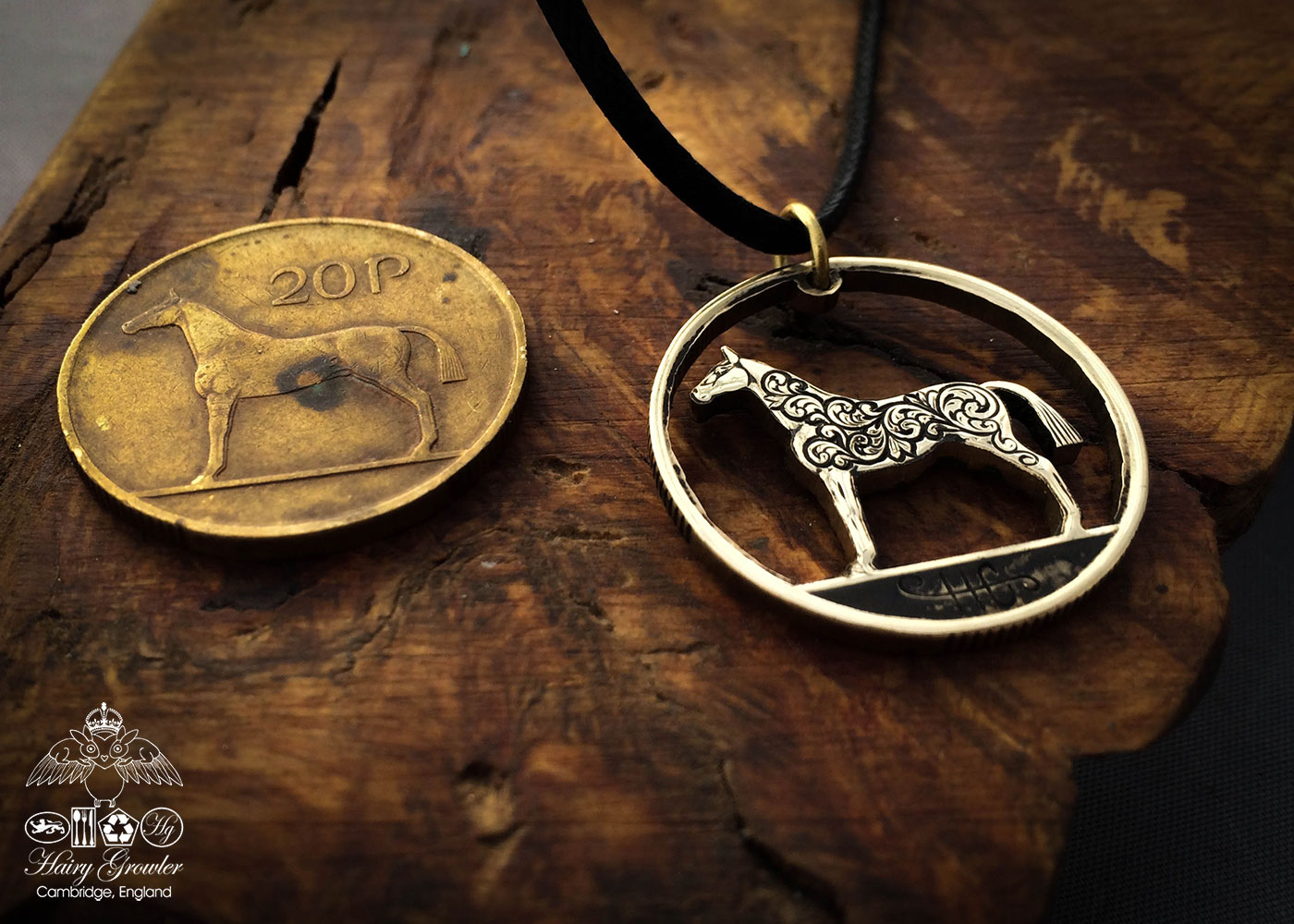 Handmade and recycled irish hunter horse coin pendant necklace