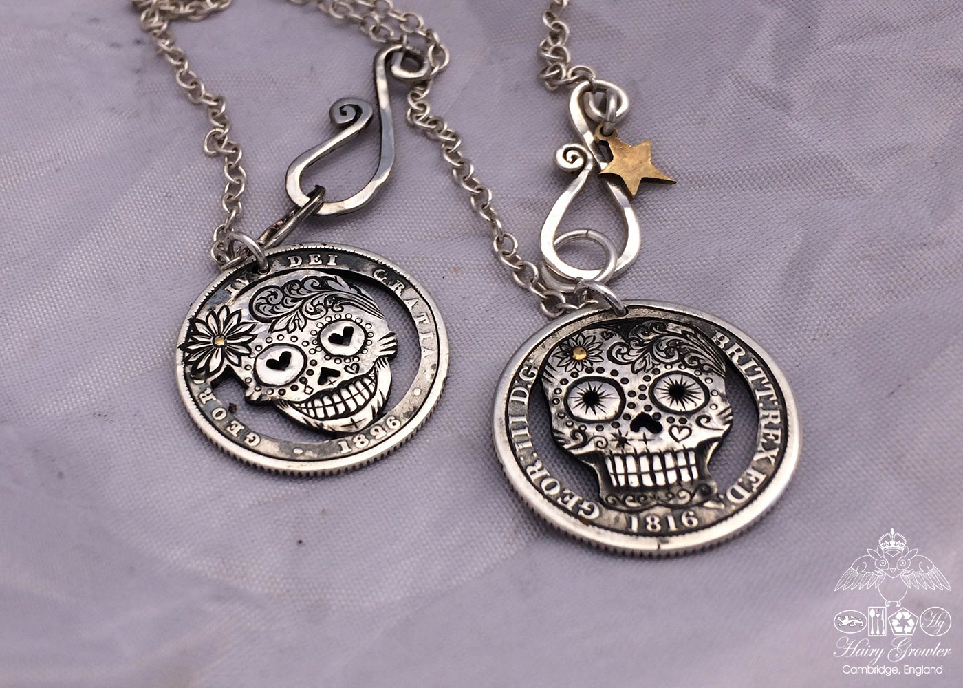 Handmade and upcycled silver shilling coin day-of-the-dead skull necklace