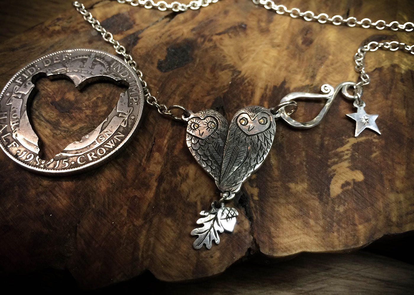 Gorgeous, stylish, eco-friendly, green, ethical and individual. The Hairy Growler silver little love owls necklace is meticulously handcrafted in Cambridge, UK.