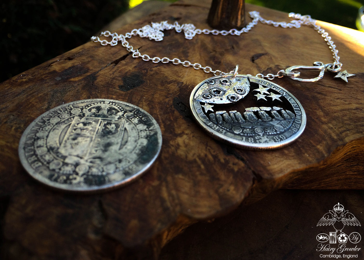 Handcrafted and recycled silver half crown Midnight winter solstice at Stonehenge necklace pendant