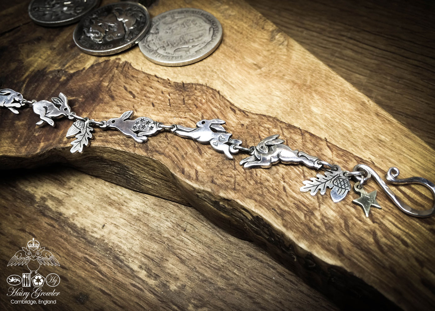 hare bracelet individually handmade and recycled from an old Victorian silver coins