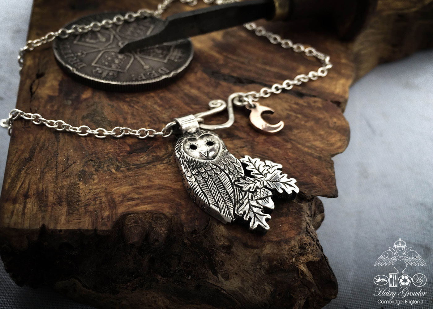 handmade and recycled silver coins wise barn owl charm for a tree sculpture or necklace