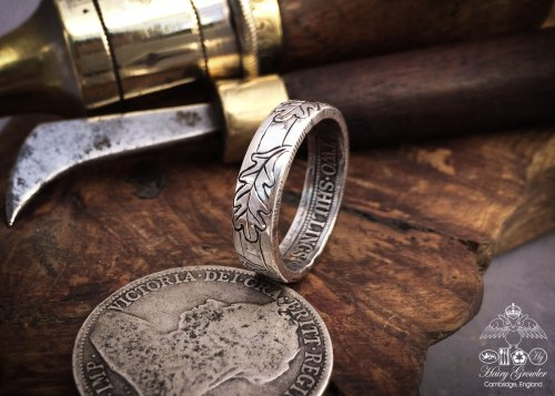 Perfect for your handfasting ceremony , they are an 'unbroken circle', quite lovely and symbolic. Handcrafted and recycled silver coin oak leaf rings