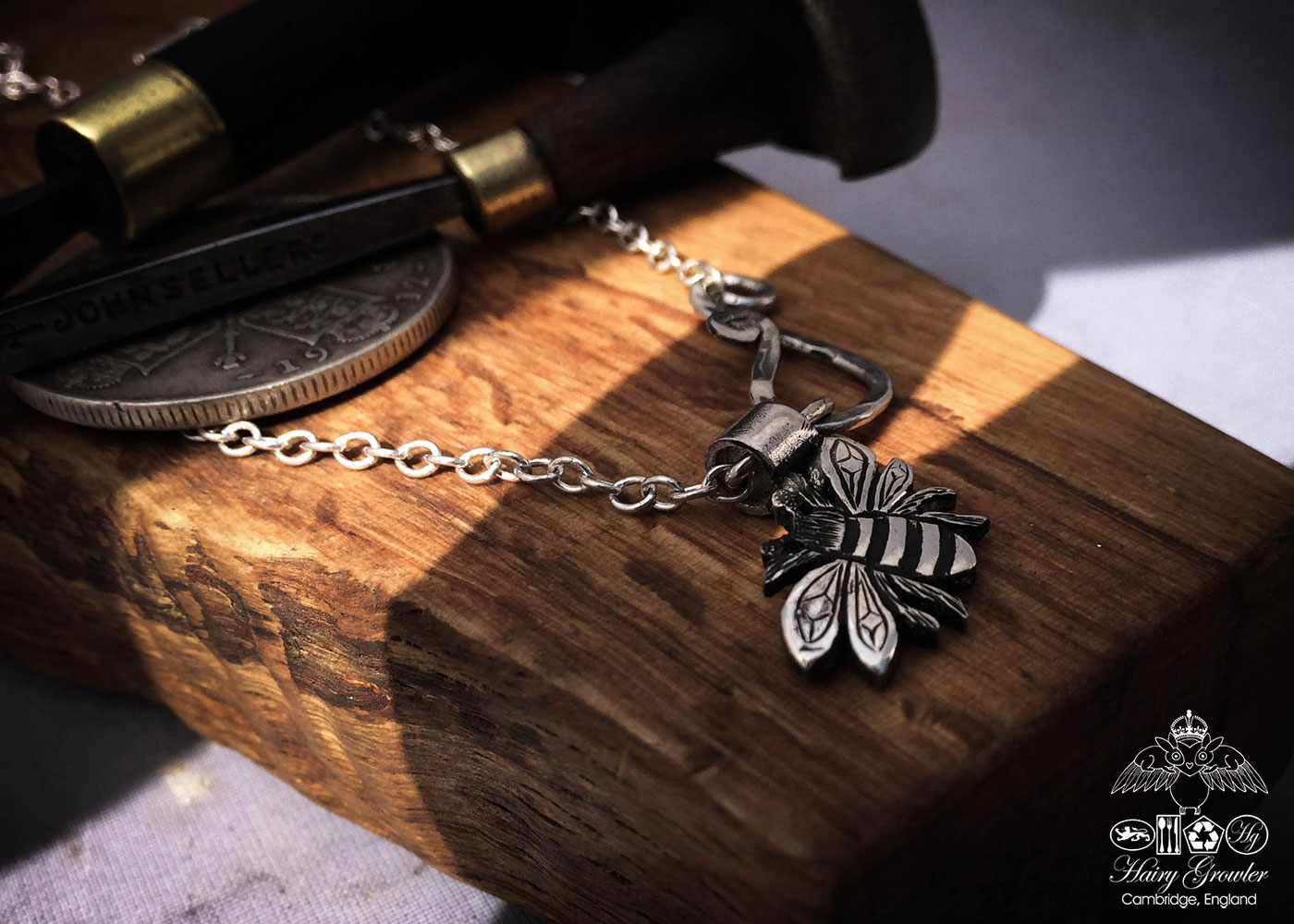 handcrafted silver bee charm for a tree sculpture, necklace or bracelet