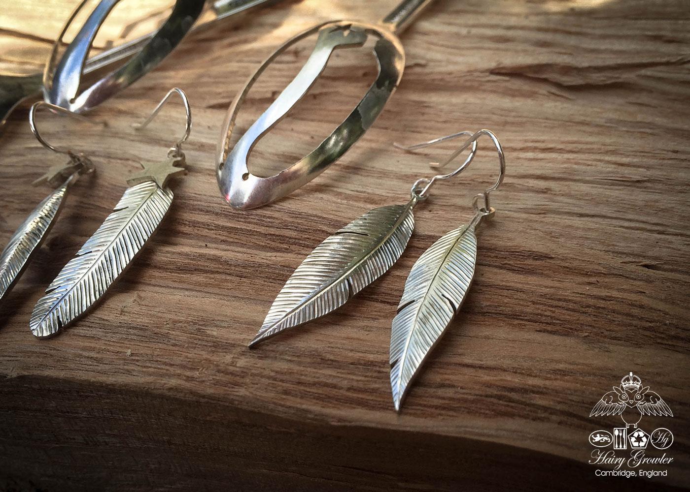 recycled vintage spoon feather earrings. Handcrafted in Cambridge