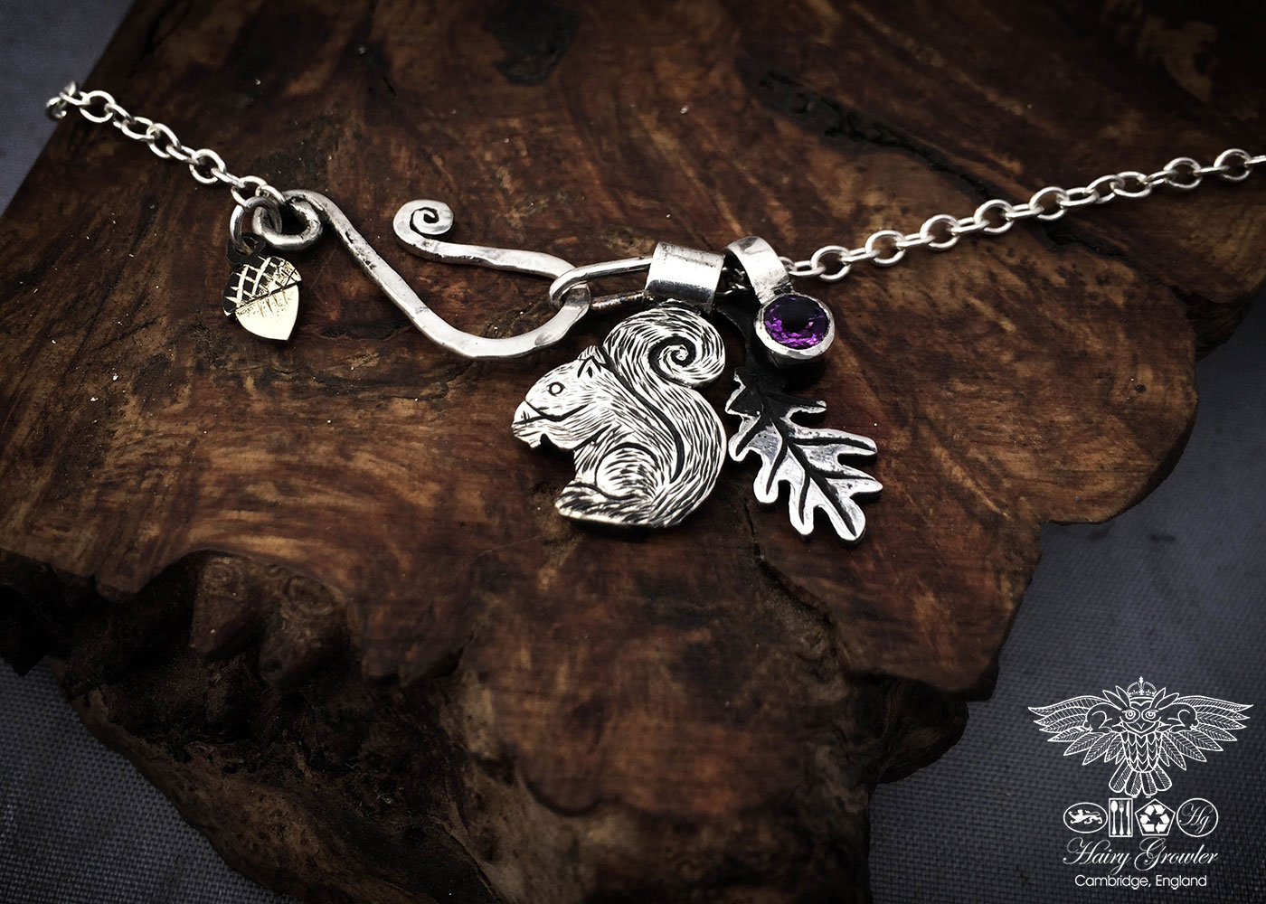 handmade and recycled silver coins squirrel charm for a tree sculpture, necklace or bracelet