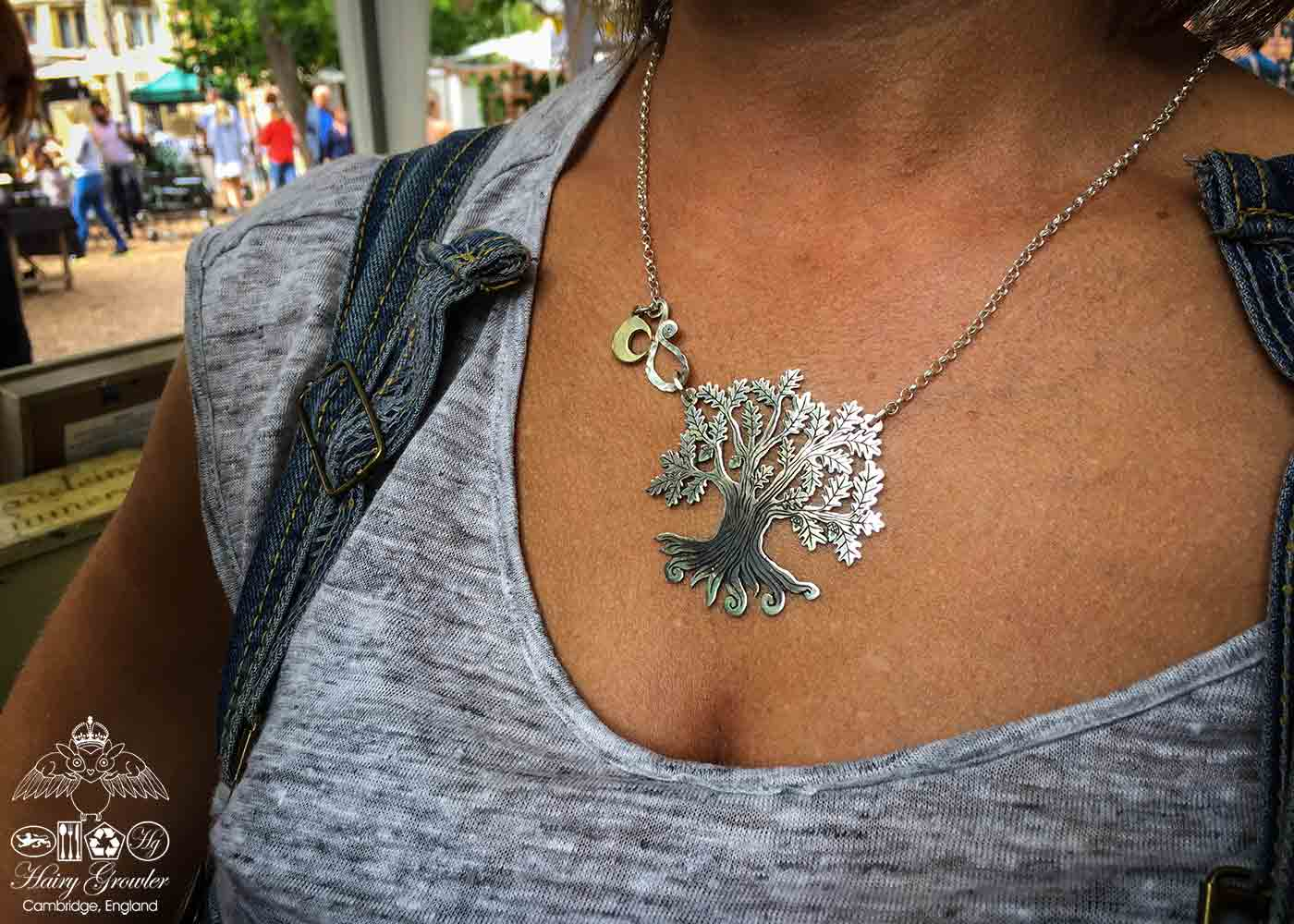 Handcrafted and recycled silver ancient woodland Tree of Life necklace made from a silver crown coin