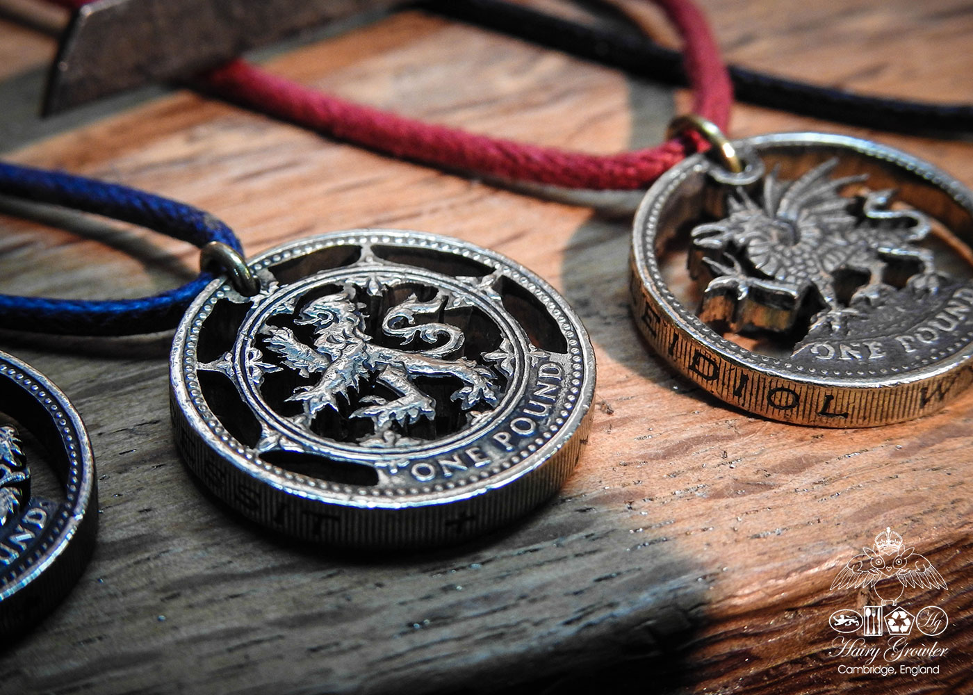 The hairy growler jewellery co the random collection of recycled hand crafted and cut one pound coin pendants created from old out of circulation pound aloadofball Images