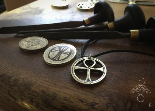Handcrafted and recycled Egyptian ankh coin pendant necklace