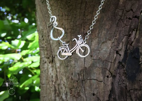 Bicycle necklace handmade and upcycled sterling silver beautiful dutch bike necklace