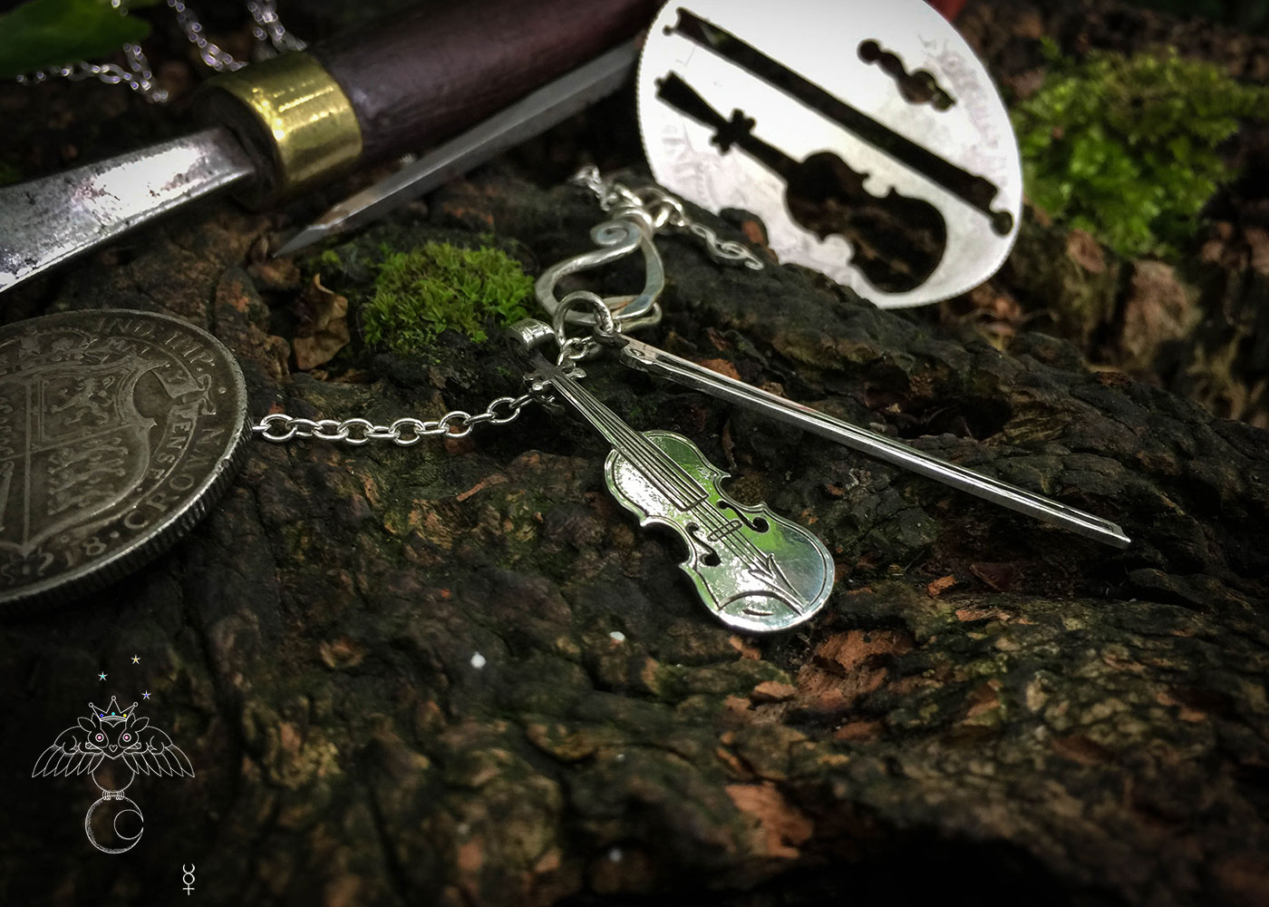 fiddle, violin necklace - handcrafted and recycled using silver coins