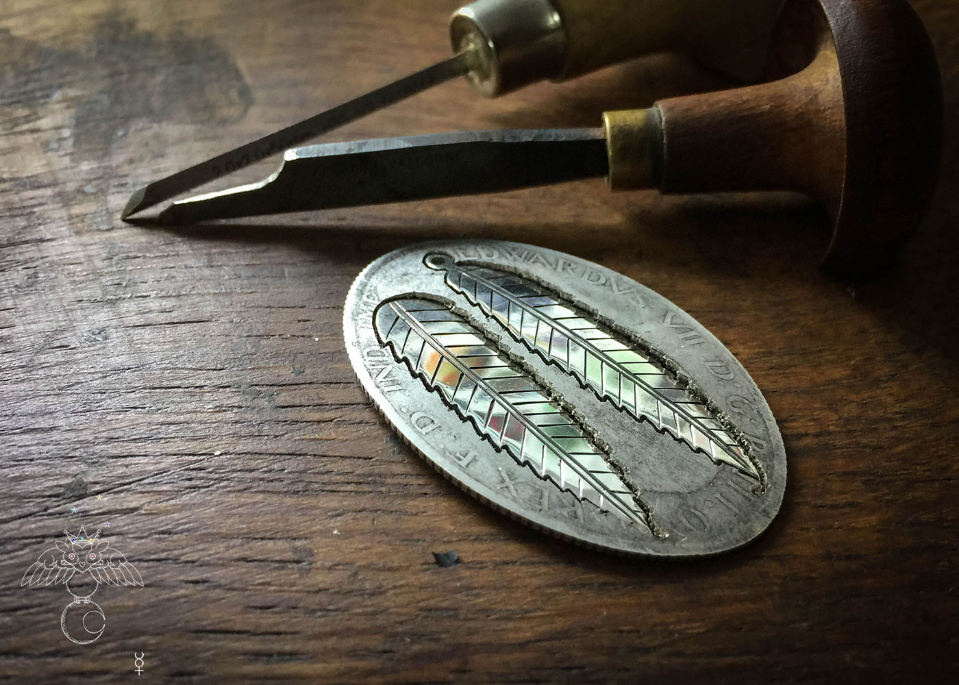 handcrafted and recycled silver florin coin rowan leaf leaves necklace