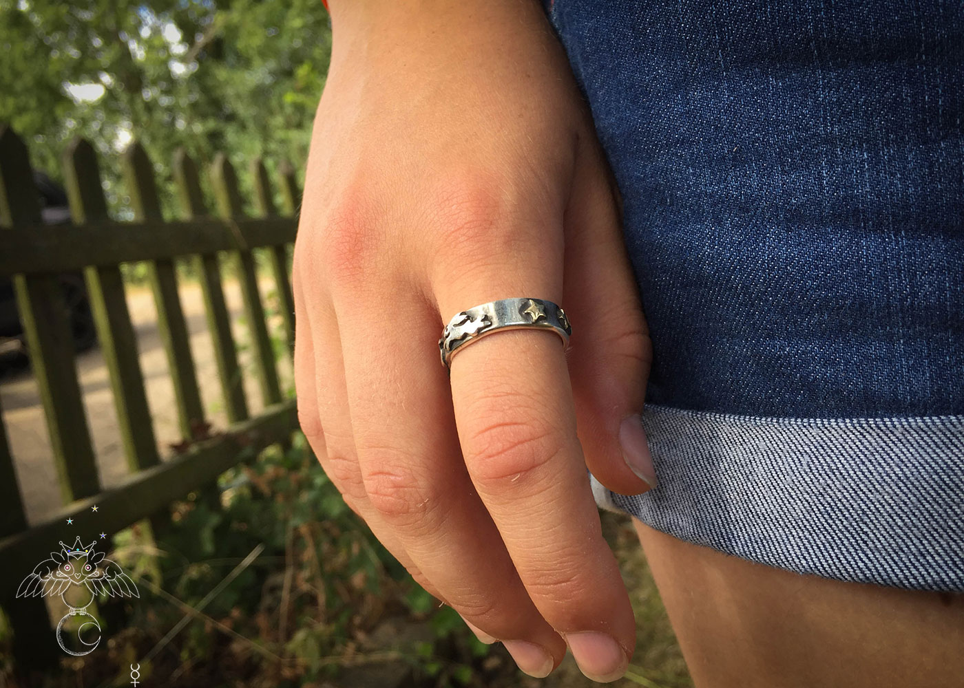 handmade and repurposed silver sixpence and fork magical leaping rabbit ring