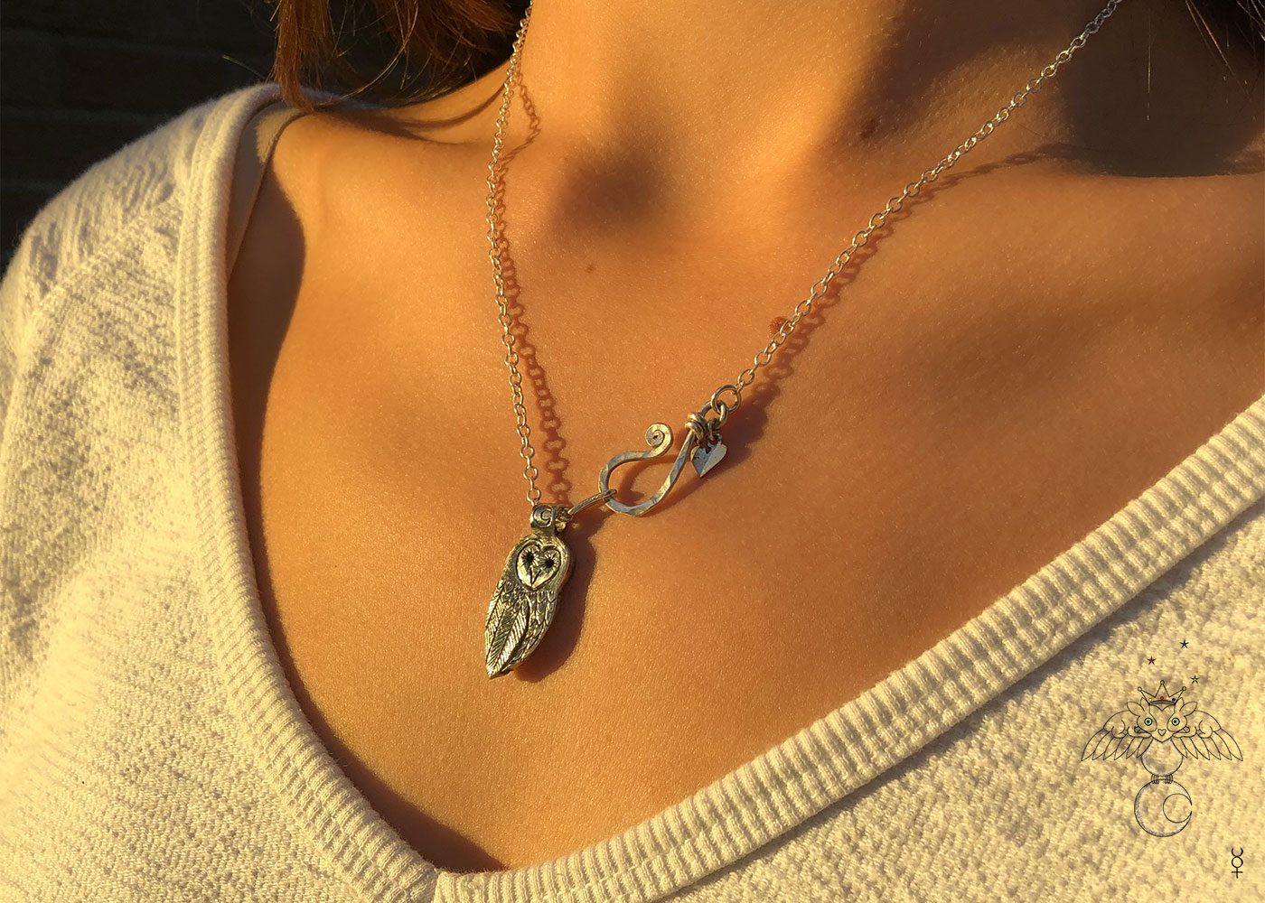 Owl necklace handmade and recycled coin jewellery. Independent artisan jeweller studio workshop specialising in nature themes. Each piece is ethically made and original.
