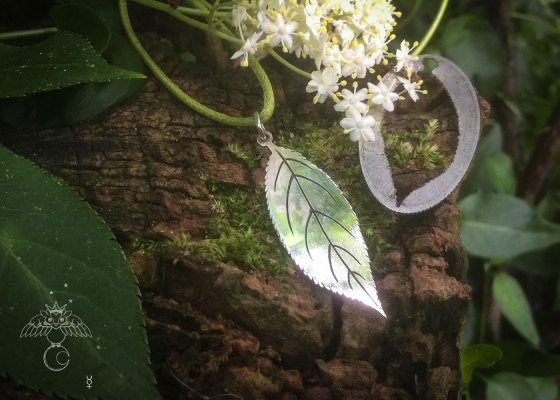 Elder tree ogham necklace - handcrafted and recycled ethical jewellery made from silver 100 year old shilling.