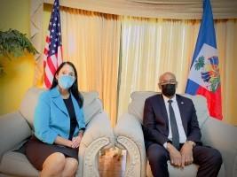 iciHaiti - Politic: The PM talks with the American Ambassador Michèle Sison