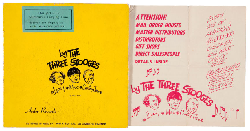 Hake S The Three Stooges Personalized Record Salesman S Sample Promo Trio