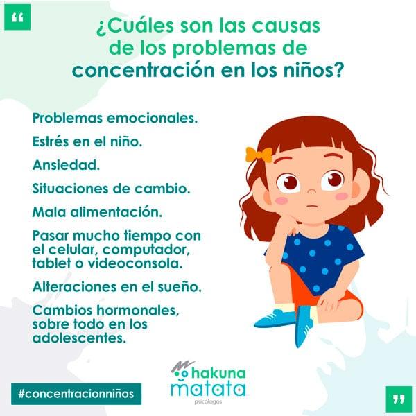 Causas de los problemas de concentración en los niños