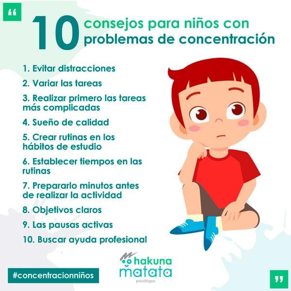 Consejos para niños con problemas con la concentración