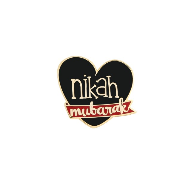 Nikah Mubarak Badge Pin Black for Men Celebration Marriage