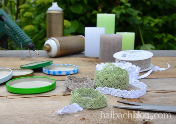 DIY-Idee halbachblog: Materialien für Kerzenuntersetzer aus Baumwollspitze und Marmeladenglasdeckel