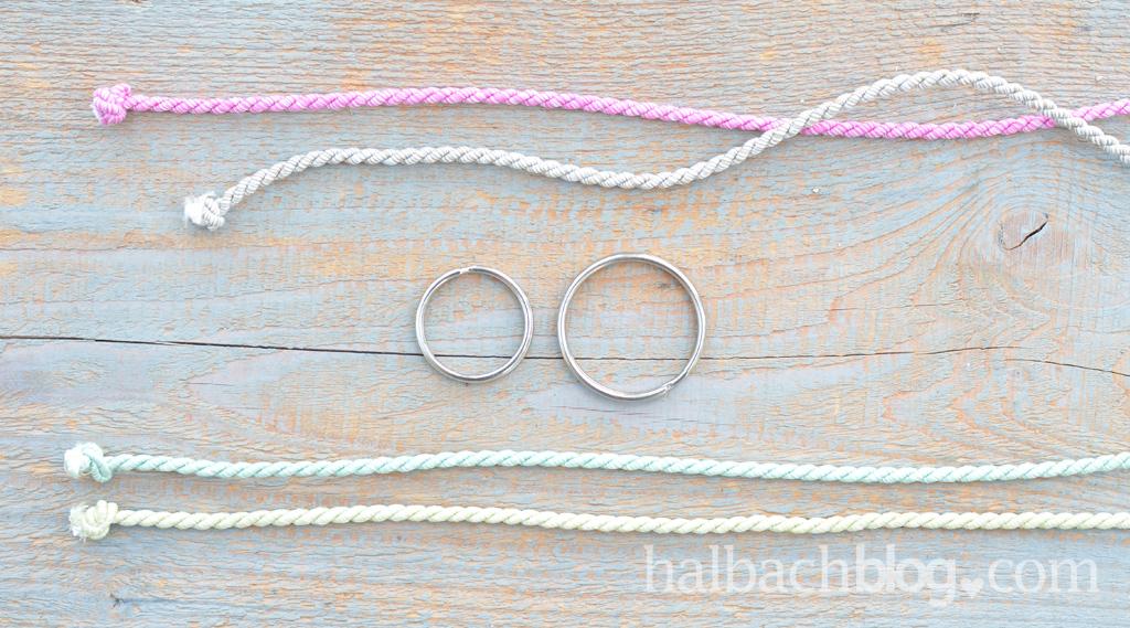 DIY-Idee halbachblog: Keltisches Herz als Schlüsselanhänger knüpfen - Material: Metallring, Kordel