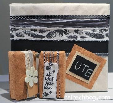 DIY-Idee halbachblog: Geschenke liebevoll verpackt I Schwarz, Weiß und Natur I modernes Handlettering I